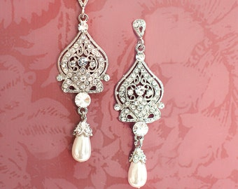 Wedding Chandelier Earrings, Bridal Earrings, Pearl Chandelier Earrings, Vintage Style Wedding Earrings  - 'ALISA'