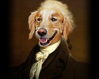 Alexander Hamilton - Pet Portrait - Custom Renaissance Pet Dog/Cat Portraits - Digital personalized portrait painting using your Pet's Photo