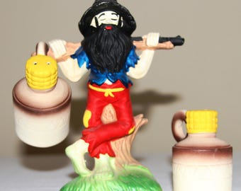 Vintage Hillbilly Man with Whiskey Jugs Salt and Pepper Shaker Set