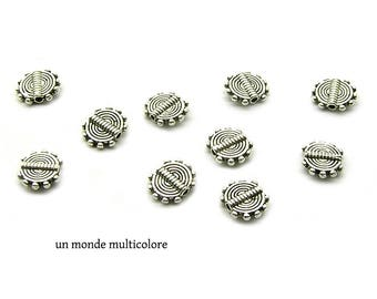 10 spacer beads antique silver metal spiral pattern 10 x 8.5 mm