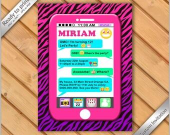 50% off sale - Emoji Invitation, Emoji Party invitation, Emoticon invite, Emoji pink zebra invitation, Phone emoji invitation digital.