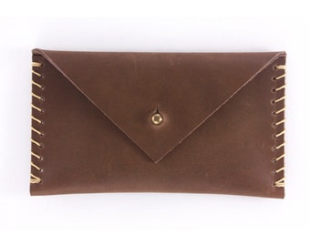 Leather Envelope Wallet - Chocolate