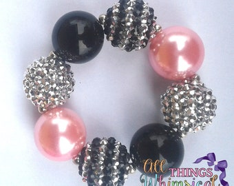 Black, Silver with a Hint of Pink Chunky Bubblegum Bracelet