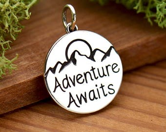 Sterling Silver Adventure Awaits - Mountain - Sun - Travel Jewelry - Sunrise Sunset - Mountains - DIY Jewelry - Add to your necklace