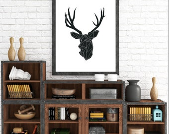 Nordic Design, Geometric Animals, Minimalist Deer, Deer Wall Prints, Animal Art, Geometric Deer, Wall Art Prints, Origami Art, Animal Prints