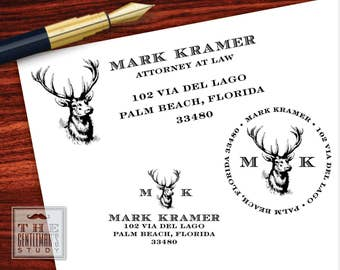 Buck Head Pre Inked Stamp - Traditional or Round - Deer Trophy Return Address Stamper - Black Ink Self Inking Stamp - New Home Gift for Man