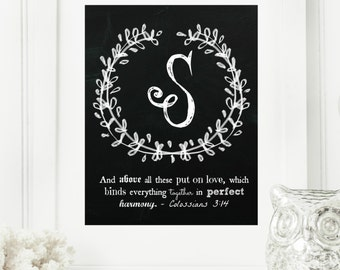 """Instant """"Family Monogram Scripture"""" Chalkboard Wall Art Print 8x10 Typography Letter """"S"""" Printable Home Decor"""