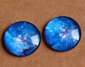 5pcs 25mm Blue starry sky photo glass cabochon,flatback round glass cabochon for jewelry making,art