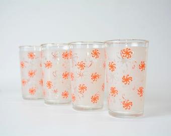 4 Orange Pinwheel Swirl Juice Glasses Set - 1960s - Mid Century - True Vintage