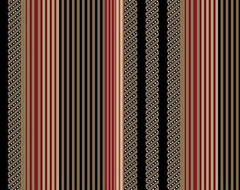 Beige/White/Black/Red Stripes Quilting Cotton Fabric  [[by the half yard]]