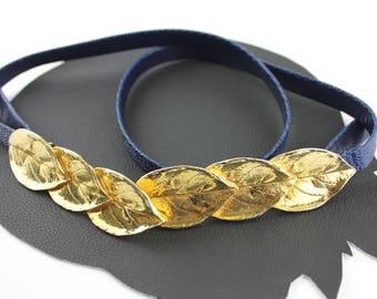 """Vintage Mimi Di N Gold Metal Leaf Buckle & Faux Snakeskin Belt - adjustable length up to 34"""""""