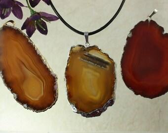 SALE Three Brown Agates, Brown Agate, Agate Pendant Necklace,Carmel Agate, Gold Agate Pendant, Sliver Agate, Agate Slice, SALE69