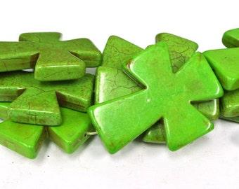 "BIG SALE Green Cross Beads, Large Crosses, 50x40mm Magnesite Crosses, Howlite Crosses, 16"" Strand, 8 PCS, Cross Jewelry, Wholesale Beads"
