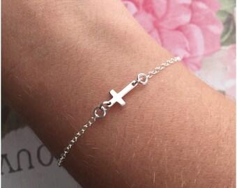 Tiny Cross Bracelet - Sideways Cross Bracelet - Sterling Silver Bracelet with Cross Charm - Silver Cross Bracelet - Small Cross