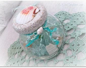 Beach Cottage Decor - Mermaid Treasure Jar - Aqua Glass Ornament - On Sale