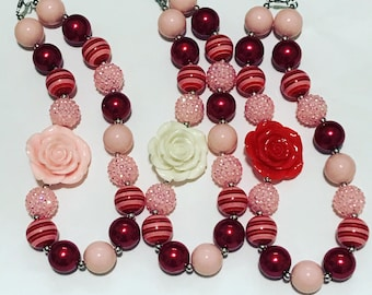 Red and pink chunky necklace