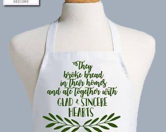 Acts 2:46 Christian Apron, Womens Apron, Mens Apron, Chefs Apron, kitchen apron