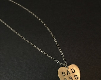 BAD ASS Heart Necklace - Metal Pendant, Small Heart Necklace, Bad Girl, Fab, Metalwork, Metal Taboo