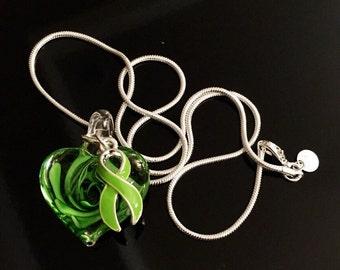 Lime Green Ribbon - Hand Painted Pendant - Non Hodgkin lymphoma Awareness Necklace - Lime Disease Awareness