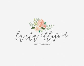 Premade Logo Design | Watercolor Floral Logo | Calligraphy Logo | Photography Logo | Boutique Logo | Small Business Logo | PL-117