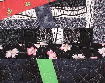 Modern Halloween Table Runner, Black, Orange, Green, White, Contemporary Fall Table Topper, Quiltsy Handmade