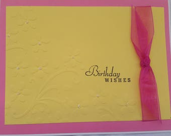Bright and Cheery Happy Birthday Wishes Card Yellow Bright Pink floral embossed card