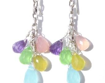 Multi Gemstone Earrings, Gemstone Dangle Earrings, Pastel Colors, Chalcedony Gemstone Earrings, Amethyst Gemstone, Wire-wrapped Earrings