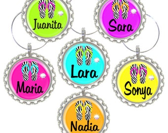 Set of 6 - PERSONALIZED WINE CHARMS -  Girly Beach Filp Flops  w/Swavorski crystals -Place Settings & Wedding Favors