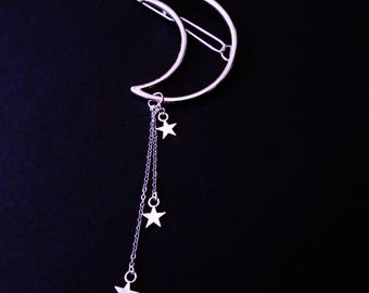 crescent moon and stars hair clip - moon hair pin - nu goth - pastel goth - goth jewelry