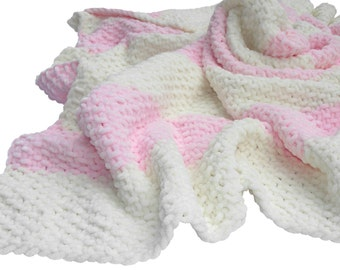Hand Knit Baby Blanket for a baby girl
