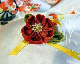 Red and yellow Tsumami Kanzashi flower brooch
