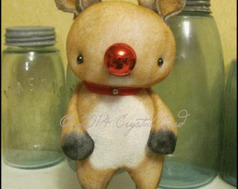 Reindeer red nose standing doll Holiday Christmas winter decor fantasy creepy cute woodland whimsical country  Farm Primitive HaFair OFGteam