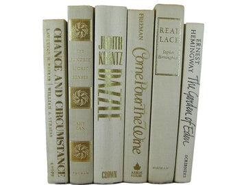 Beige Ivory White Decorative Books, Wedding Decor,  White Vintage Books,  Home Decor, Old Books, Book Stack, Book Prop, White Decor