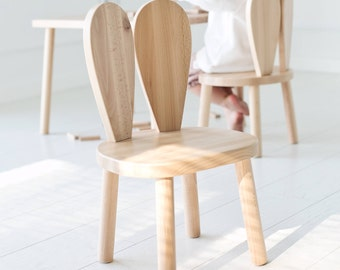 Wooden Kids Chair, Bunny Chair / Natural / LittleNOMAD