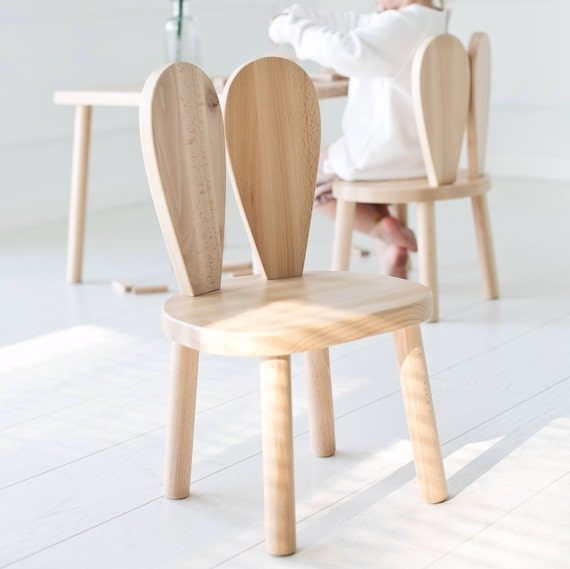Marvelous Wooden Kids Chair Bunny Chair / Natural / LittleNOMAD