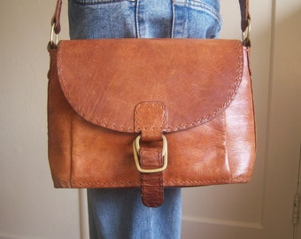 Vintage leather messenger bag / boho leather tote bag / OOAK leather shoulder purse / hip bag, hand stitched, brass buckle