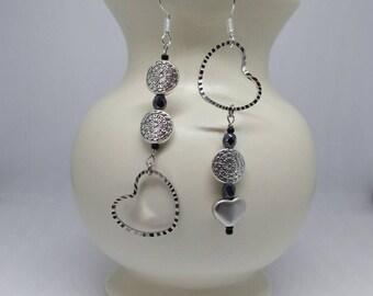 Silver Heart Earrings - Geometric Asymmetrical Earrings - Silver Long Dangle Earrings - Silver Drop Earrings - Mismatched Earrings