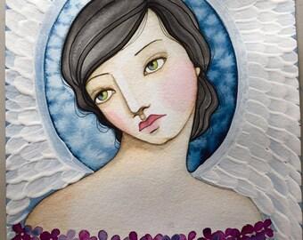 Indigo Angel Watercolor and Acrylic online class