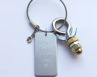 I'm nuts about you key chain for anniversaries and birthdays - with bolt, nuts, & wrench - love gift for mechanic plumber handyman husband