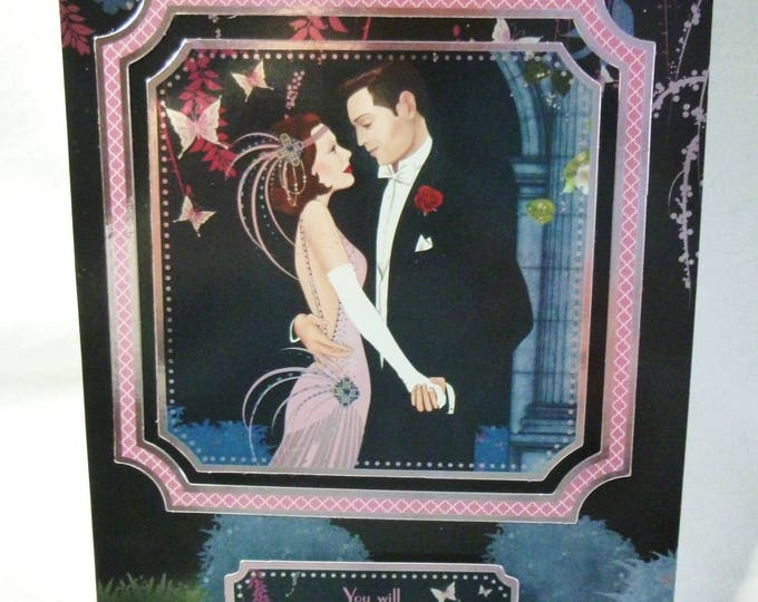 Art Deco Wedding Card, Wedding Day Card, 1920's Style Wedding Card, Happy Couple, Pink and Black,