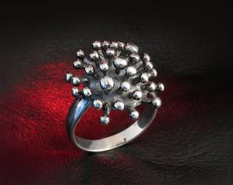 Cute ring for women, hedgehog ring, silver art, sterling silver women's ring, cool ring, unique ring, Avant garde ring, ring for her, gift