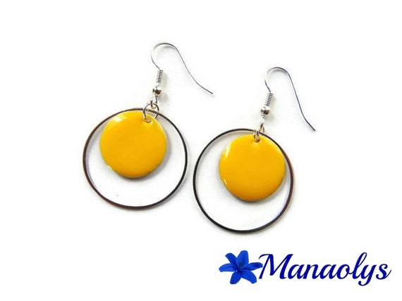 Hoop earrings, yellow round charms silver rings, enamel 3283