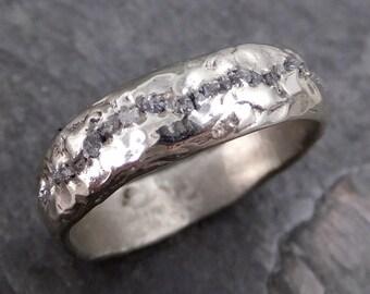 Raw Rough Diamond Men's Wedding Band 14k White Gold Black Grey conflict free diamonds Recycled White gold byAngeline C0153