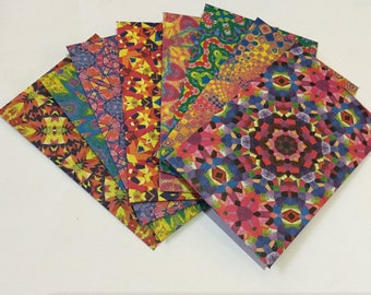 Kaleidoscope envelopes, pen pal, lunch box notes, love notes, stationery,  bright pattern, bright colour, pretty envelopes, set of 8