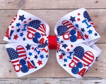 Patriotic Hair Bows~4th of July Hair Bow-Red White and Blue Hair Bow-Memorial Day Hair Bows-Spring/Summer Bows-4 Inch Hair Bows