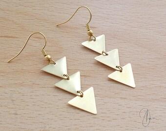Long Gold Triangle Dangle Earrings - Geometric Edgy Drop Earrings - Geo Jewellery Gift For Women - Spear Arrow Tribal Aztec Earrings
