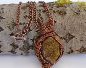 Gold necklace, druzy pendant, gold pendant, sparkly pendant