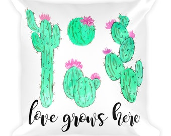 Cactus Pillow, Love Grows Here, Square Pillow, Cactus Love