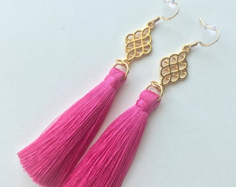 Hot Pink Tassel Earrings, Long Tassel Earrings, Short Tassel Earrings, Trendy Earrings, Fringe Earrings, Stylish Earrings, Silk Tassel