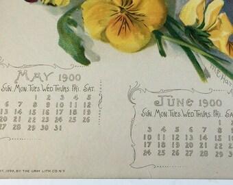 Vintage Original page from 1900 Calendar Nov Dec Bartlett Khun & Co Pansy May June